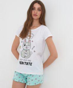 Sinsay - Pijama din două piese - Alb