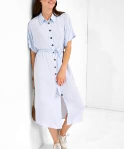 Rochie tip cămașă din viscoză Albastru