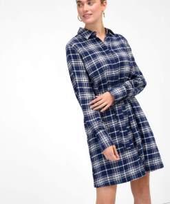 Rochie tip cămașă în carouri Albastru