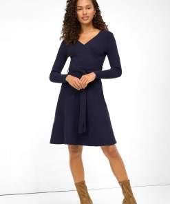 Rochie cloș din tricot Albastru