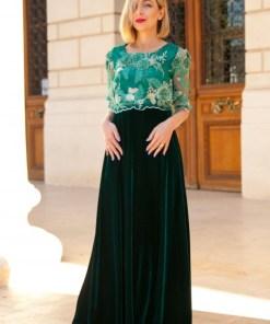 Rochie lungă din catifea și dantelă 3D Lara - Verde