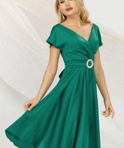 Rochie midi Pretty Girl verde in clos de ocazie cu decolteu petrecut