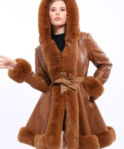 Palton piele ecologica cu blanita Monalisa maro