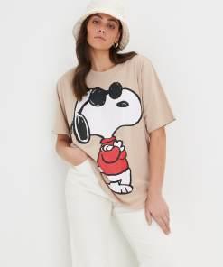 Sinsay - Tricou Snoopy - Bej