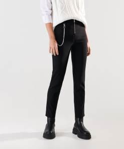 Sinsay - Pantaloni straight cu lanț decorativ - Negru