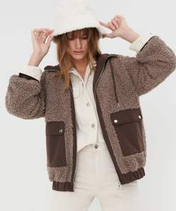 Sinsay - Jachetă din material pufos - Maro