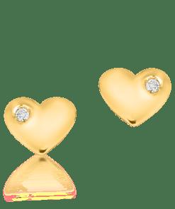 Cercei pentru copii cu inimioare din aur galben de 14K cu diamante de 0.02ct 18662