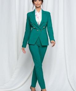 Compleu LaDonna verde cu nasturi aurii pe sacou si pantaloni