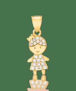 Pandant fetita din aur galben de 14K 19191