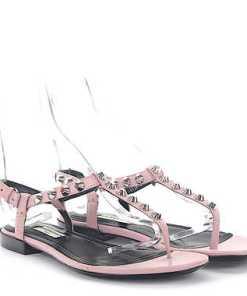 Balenciaga Flip Flops Zehentrenner Leder rosa Design-Nieten silber