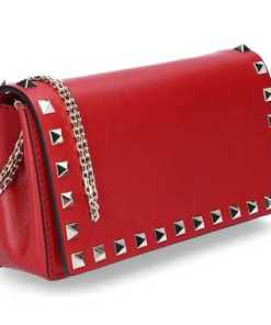 Valentino Handtasche P0372 Kalbsleder Nieten Logo rot