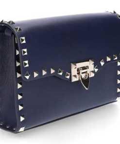 Valentino Handtasche B0181 Kalbsleder Nieten Gold dunkelblau