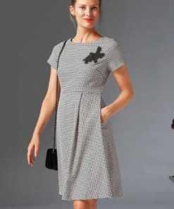 GUIDO MARIA KRETSCHMER A-Linien-Kleid mit Ziersteinchen-Applikation