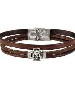 NOX Armband »Leder braun Edelstahl Totenkopf«