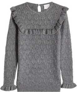Claudia Schiffer Pullover aus Wolle und Kaschmir mit Rüschen