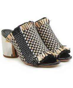 Proenza Schouler Mules aus Leder mit Block Heel und gewebtem Textil