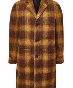 ami Karierter Mantel mit Wolle und Mohair
