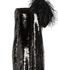 N°21 One Shoulder Minikleid mit Pailletten und Straußenfedern