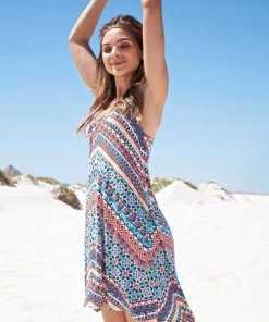 KangaROOS Sommerkleid im Festival Look, ausgestellter A-Form, mit Zierbändern hinten