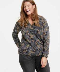 SAMOON T-Shirt Langarm Rundhals »Lässiges Langarmshirt mit Blumen-Print«