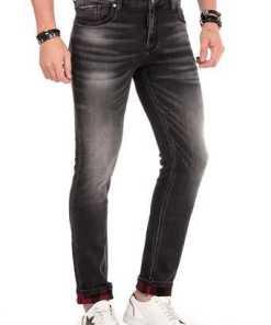 Cipo & Baxx Herren Jeans mit karierten Details