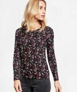 TAIFUN T-Shirt Langarm Rundhals »Longsleeve mit Blumen-Print«