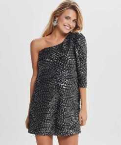 Only One Shoulder Pailletten Kleid