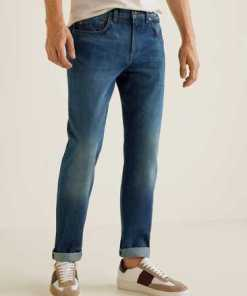MANGO MAN Dunkle Straight Fit Jeans Bob in Used-Optik