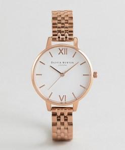 Olivia Burton - OB16DEW01 - Armbanduhr mit weißem Zifferblatt in Roségold - Gold