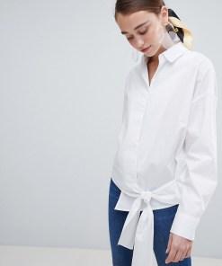New Look - Vorne gebundenes Hemd - Weiß