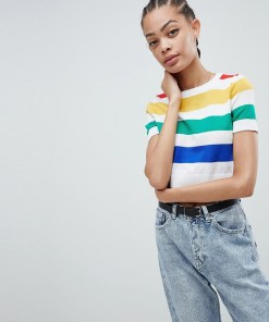 New Look - T-Shirt mit Regenbogenstreifen - Mehrfarbig