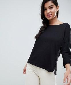 New Look - Legeres T-Shirt mit 3/4 langen Ärmeln - Schwarz