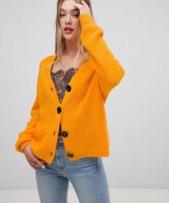 New Look - Strickjacke mit durchgehender Knopfleiste - Orange