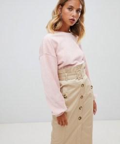 New Look - Gerippter Cordpullover mit Ballonärmeln - Rosa