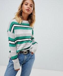 New Look - Gestreifter Pullover mit Rundhalsausschnitt - Grau