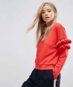 New Look - Sweatshirt mit gerüschten Ärmeln - Rot