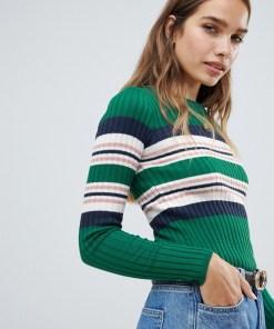 New Look - Pullover mit Rundhalsausschnitt und Streifenmuster - Grün