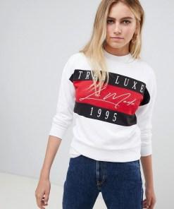 New Look - Sweatshirt mit Schriftzug - Weiß