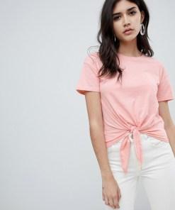 New Look - T-Shirt zum Zubinden vorne - Orange