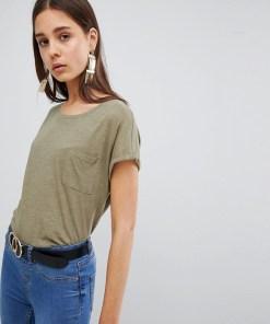 New Look - Bio-T-Shirt mit Tasche - Grün