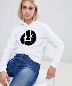 Armani Exchange - Kapuzenpullover mit Ax-Logo vorn - Weiß