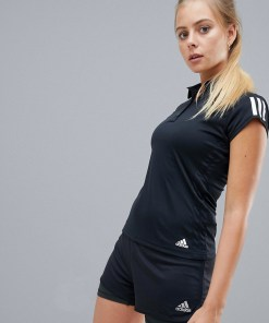 adidas - Tennis - Schwarzes Polohemd mit Dreierstreifen - Schwarz