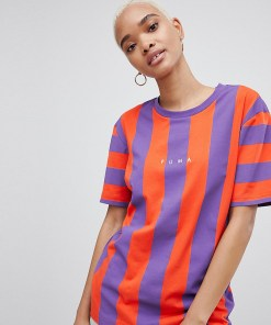 Puma - Exclusive To ASOS - T-Shirt in leuchtend Rot und Purpur gestreift - Violett