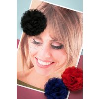 70s Hair Flowers Set in Black