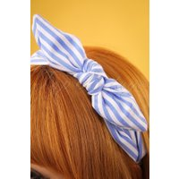 50s Striped Head Band in Light Blue