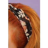 60s Vintage Floral Head Band in Black