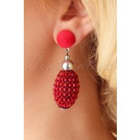 60s Bethany Beaded Earrings in Red
