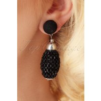 60s Bethany Beaded Earrings in Black