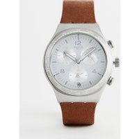 Swatch - YCS597 Irony - Chronograph mit Lederarmband in Braun