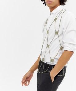 ASOS DESIGN - Party-Körperschmuck in poliertem Gold mit Kettendesign - Silber